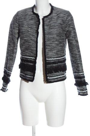 H&M Kurz-Blazer schwarz-weiß Webmuster Casual-Look