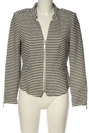 H&M Kurz-Blazer weiß-schwarz Streifenmuster Casual-Look