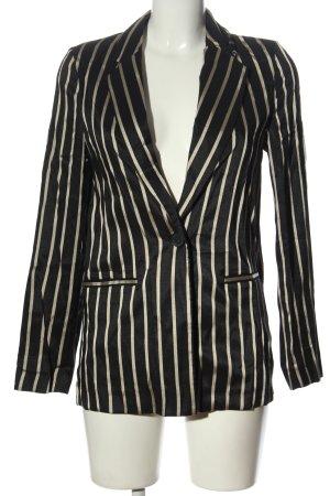 H&M Kurz-Blazer schwarz-wollweiß Streifenmuster Business-Look