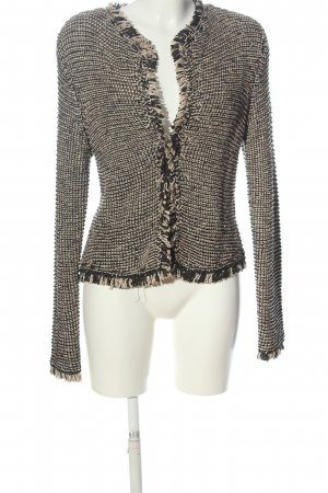 H&M Kurz-Blazer schwarz-wollweiß abstraktes Muster Casual-Look