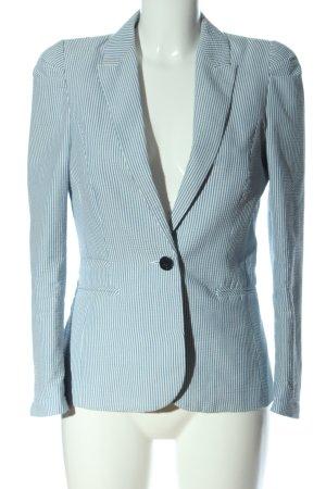 H&M Kurz-Blazer blau-weiß Allover-Druck Casual-Look