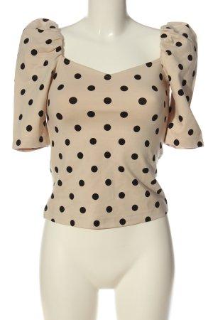 H&M Kurzarm-Bluse creme-schwarz Punktemuster Casual-Look