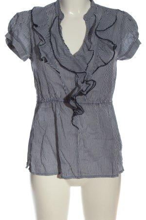 H&M Kurzarm-Bluse blau-weiß Streifenmuster Casual-Look