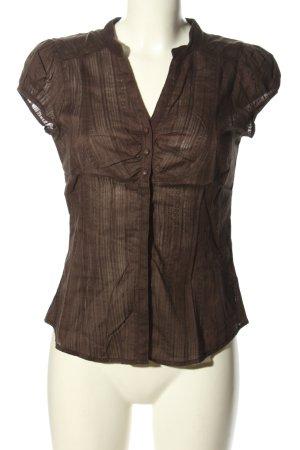 H&M Kurzarm-Bluse braun Streifenmuster Casual-Look