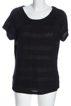 H&M Kurzarm-Bluse schwarz Streifenmuster Casual-Look
