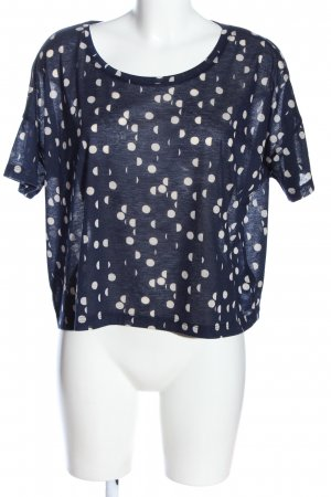 H&M Short Sleeved Blouse blue-white mixed pattern casual look