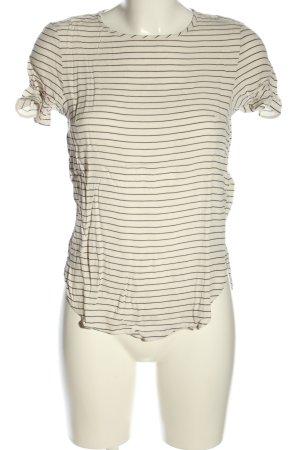 H&M Kurzarm-Bluse wollweiß-schwarz Streifenmuster Casual-Look