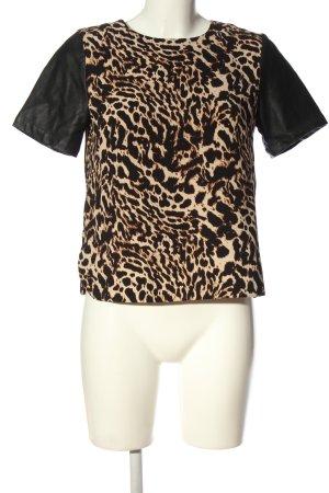 H&M Kurzarm-Bluse creme-schwarz Animalmuster extravaganter Stil