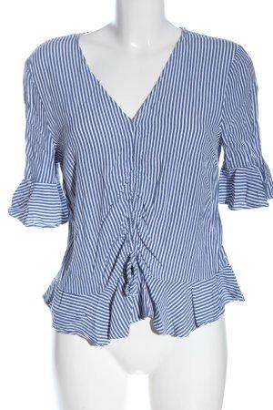 H&M Kurzarm-Bluse blau-weiß Allover-Druck Casual-Look