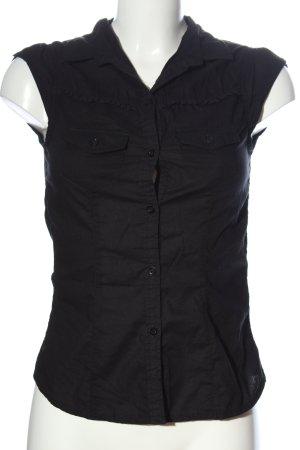 H&M Kurzarm-Bluse schwarz Business-Look