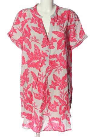 H&M Kurzarm-Bluse hellgrau-pink Allover-Druck Casual-Look