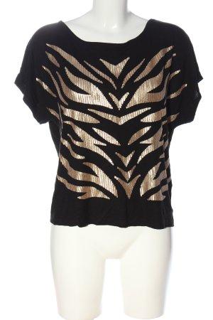 H&M Oversized Shirt schwarz-goldfarben Motivdruck Casual-Look