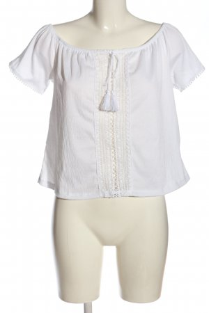 H&M Kurzarm-Bluse weiß Elegant