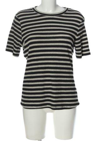 H&M Kurzarm-Bluse Streifenmuster Casual-Look
