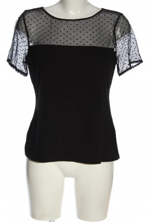 H&M Kurzarm-Bluse schwarz Punktemuster Casual-Look
