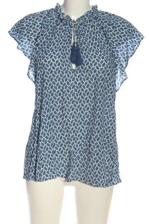 H&M Kurzarm-Bluse weiß-blau abstraktes Muster Casual-Look
