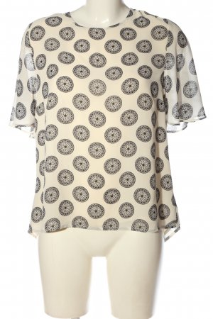 H&M Kurzarm-Bluse wollweiß-schwarz abstraktes Muster Casual-Look