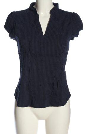 H&M Kurzarm-Bluse schwarz-blau Allover-Druck Casual-Look