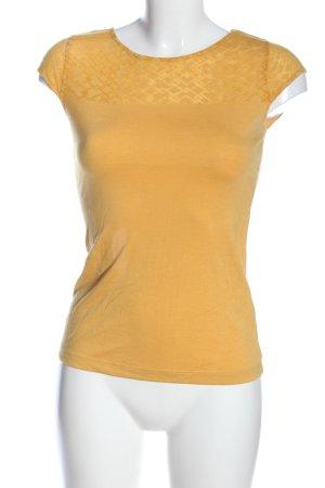 H&M Kurzarm-Bluse blassgelb Allover-Druck Casual-Look