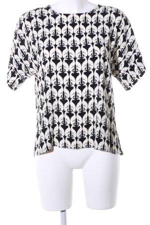 H&M Kurzarm-Bluse weiß-schwarz Allover-Druck Casual-Look