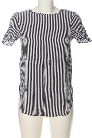 H&M Kurzarm-Bluse schwarz-weiß Streifenmuster Business-Look