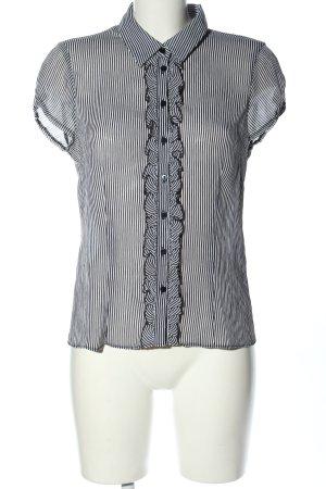 H&M Kurzarm-Bluse schwarz-weiß Streifenmuster Casual-Look