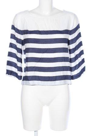 H&M Kurzarm-Bluse weiß-blau Streifenmuster Casual-Look
