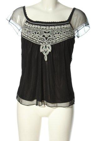 H&M Kurzarm-Bluse schwarz-weiß Business-Look