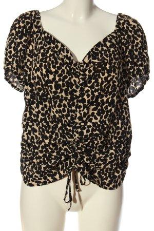 H&M Kurzarm-Bluse creme-schwarz Allover-Druck extravaganter Stil