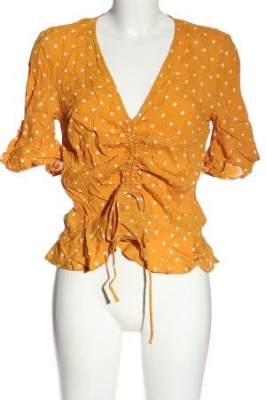 H&M Kurzarm-Bluse blassgelb-weiß Allover-Druck Casual-Look