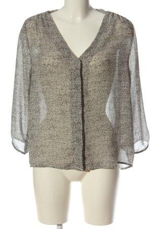 H&M Kurzarm-Bluse wollweiß-schwarz abstraktes Muster Elegant