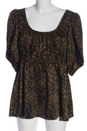 H&M Kurzarm-Bluse schwarz-blassgelb Allover-Druck Casual-Look