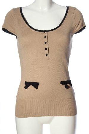 H&M Kurzarm-Bluse nude-schwarz Casual-Look