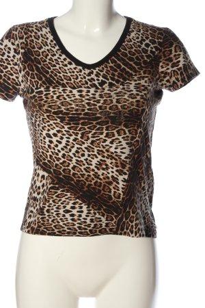 H&M Kurzarm-Bluse weiß-braun Allover-Druck Casual-Look