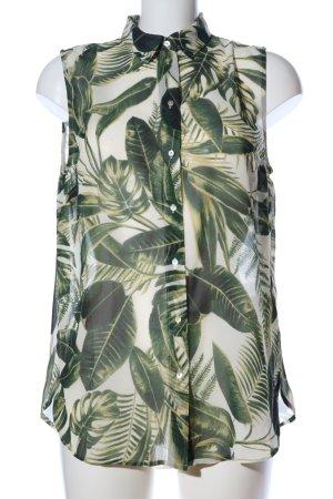 H&M Blouse met korte mouwen groen-wolwit volledige print casual uitstraling