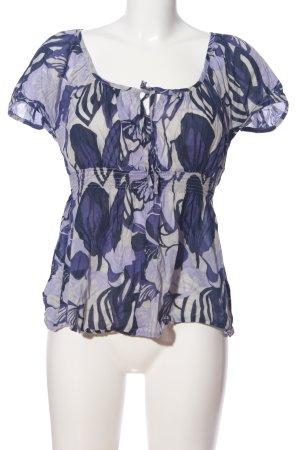 H&M Kurzarm-Bluse hellgrau-blau abstraktes Muster Casual-Look