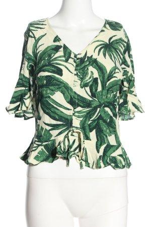 H&M Kurzarm-Bluse grün-creme Allover-Druck Casual-Look