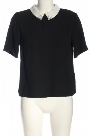H&M Kurzarm-Bluse schwarz-weiß Casual-Look