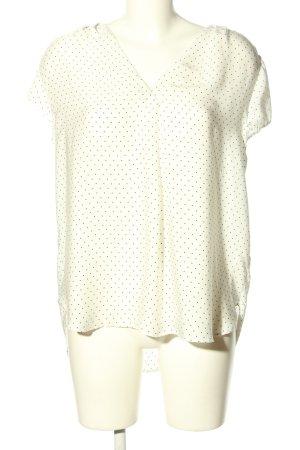 H&M Kurzarm-Bluse wollweiß-schwarz Punktemuster Casual-Look