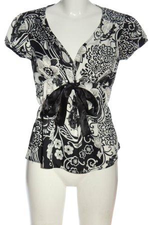 H&M Kurzarm-Bluse schwarz-weiß Blumenmuster Casual-Look