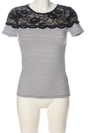 H&M Kurzarm-Bluse weiß-schwarz Casual-Look