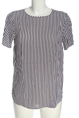 H&M Kurzarm-Bluse weiß-schwarz Streifenmuster Casual-Look