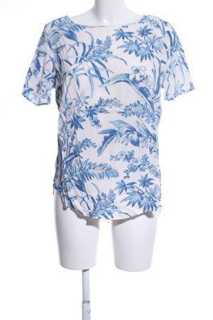 H&M Kurzarm-Bluse weiß-blau Allover-Druck Casual-Look