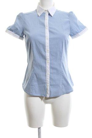H&M Kurzarm-Bluse blau-weiß Streifenmuster Business-Look