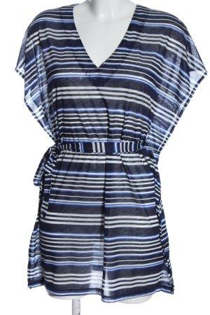 H&M Kurzarm-Bluse blau-weiß Streifenmuster Elegant