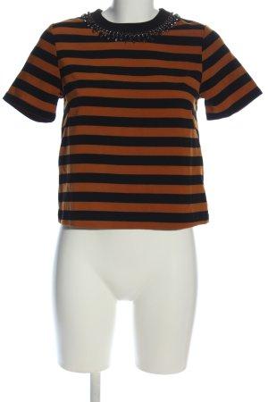 H&M Kurzarm-Bluse braun-schwarz Streifenmuster Casual-Look