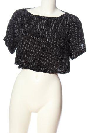 H&M Kurzarm-Bluse schwarz-weiß Punktemuster Casual-Look