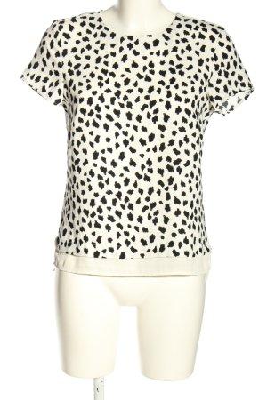 H&M Kurzarm-Bluse weiß-schwarz abstraktes Muster Casual-Look