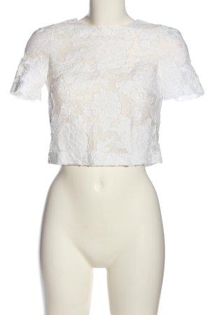 H&M Kurzarm-Bluse weiß Blumenmuster Elegant
