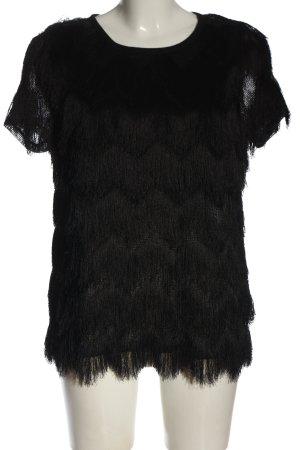 H&M Kurzarm-Bluse schwarz Glanz-Optik